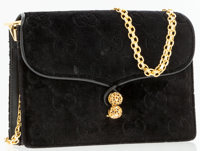 Gucci Black Classic Monogram Velour Evening Bag with Gold Chain Strap