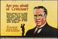 """Movie Posters:Miscellaneous, Are You Afraid of Criticism? (Mather and Company, 1923). Motivational Poster (28"""" X 41.5""""). Miscellaneous.. ..."""
