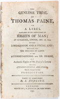 Books:World History, [Thomas Paine] The Genuine Trial of Thomas Paine, For aLibel... J. S. Jordan, 1792. First edition. String bound. La...