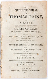 [Thomas Paine] The Genuine Trial of Thomas Paine, For a Libel... J. S. Jordan, 1792. First edit
