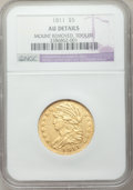 Early Half Eagles, 1811 $5 Tall 5 -- Mount Removed, Tooled -- NGC Details. AU. BD-1, High R.3....