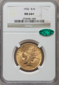 Indian Eagles: , 1932 $10 MS64+ NGC. CAC. NGC Census: (11603/2555). PCGS Population(9060/1275). Mintage: 4,463,000. Numismedia Wsl. Price f...