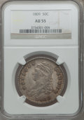 Bust Half Dollars: , 1809 50C Normal Edge AU55 NGC. NGC Census: (48/161). PCGSPopulation (70/109). Mintage: 1,405,810. Numismedia Wsl. Pricefo...