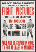 Boxing Collectibles:Memorabilia, 1971 Frazier vs Ali Fight One Sheet Poster (Cinerama Releasing)....