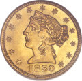 """Territorial Gold, 1850 $5 Moffat & Co. Five Dollar MS65 PCGS. Large Eagle,""""K-7c,"""" R.4...."""
