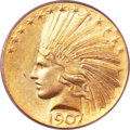 Indian Eagles, 1907 $10 Wire Rim MS65 PCGS....