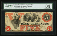 Fayetteville, NC- The Bank of Clarendon $5 Aug. 1, 1861 G2b