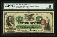 Fr. 95b $10 1863 Legal Tender PMG Choice About Uncirculated 58 Net