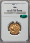 Indian Half Eagles: , 1910 $5 MS62 NGC. CAC. NGC Census: (2088/1317). PCGS Population(1460/845). Mintage: 604,250. Numismedia Wsl. Price for pro...