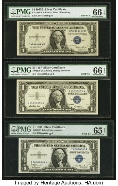 Solid Serial Number 11111111 - 99999999 Silver Certificate | Lot ...