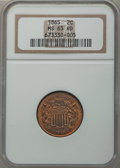 Two Cent Pieces: , 1865 2C MS65 Red NGC. NGC Census: (95/27). PCGS Population(191/41). Mintage: 13,640,000. Numismedia Wsl. Price for problem...