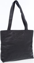 Luxury Accessories:Bags, Chanel Black Lambskin Tote with CC Embroidery . ...