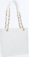 Luxury Accessories:Accessories, Chanel White Quilted Leather Petit Shopping Tote Bag with Gold Hardware . ...
