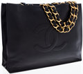 Luxury Accessories:Bags, Chanel Black Lambskin Leather Tote Bag with Jumbo Gold Chain andLeather Straps. ...