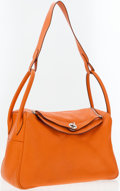 Luxury Accessories:Bags, Hermes 34cm Orange H Clemence Leather Lindy Bag with PalladiumHardware. ...