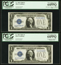 Small Size:Silver Certificates, Fr. 1602/Fr. 1601 $1 1928B/1928A Silver Certificates. Reverse Changeover Pair. PCGS Very Choice New 64PPQ.. ... (Total: 2 notes)