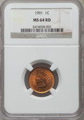 Indian Cents: , 1901 1C MS64 Red NGC. NGC Census: (155/149). PCGS Population (345/251). Mintage: 79,611,144. Numismedia Wsl. Price for prob...