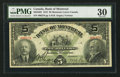 Canadian Currency: , Montreal, PQ- The Bank of Montreal $5 Sep. 3, 1912 Ch. 505-52-02....