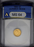 Commemorative Gold: , 1903 G$1 Louisiana Purchase/McKinley MS64 ANACS. Bright satinyluster with some weakness in the border areas noted as the d...