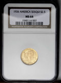Commemorative Gold: , 1926 $2 1/2 Sesquicentennial MS64 NGC. Shimmering full luster andrich coloration ensure the eye appeal of this near-Gem. T...