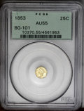 California Fractional Gold: , 1853 25C Liberty Octagonal 25 Cents, BG-101, Low R.5, AU55 PCGS.This honey-gold octagonal quarter is pleasing for the assi...