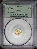 California Fractional Gold: , 1854 50C Liberty Octagonal 50 Cents, BG-305, Low R.4, MS63 PCGS. Anunmarked and slightly buckled example with medium honey...