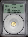 California Fractional Gold: , 1854 50C Liberty Octagonal 50 Cents, BG-308, R.4, AU58 PCGS. Asatiny straw-gold example of this scarce Period One variety....
