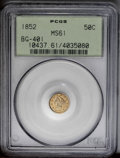 California Fractional Gold: , 1852 50C Liberty Round 50 Cents, BG-401, R.3, MS61 PCGS. Thisgolden-brown early fractional gold piece has glossy highpoint...