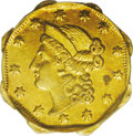 California Fractional Gold: , 1854 $1 Large Eagle Octagonal 1 Dollar, BG-504, Low R.5, MS61 PCGS.The reverse of this famous Period One issue imitates th...