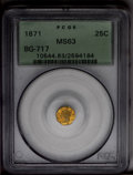 California Fractional Gold: , 1871 25C Liberty Octagonal 25 Cents, BG-717, R.3, MS63 PCGS. DieState III. The rich peach-gold fields are smooth and attra...