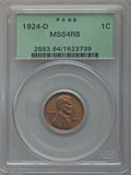 Lincoln Cents: , 1924-D 1C MS64 Red and Brown PCGS. PCGS Population (168/25). NGC Census: (109/68). Mintage: 2,520,000. Numismedia Wsl. Pric...