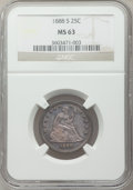 Seated Quarters: , 1888-S 25C MS63 NGC. NGC Census: (12/50). PCGS Population (20/33).Mintage: 1,216,000. Numismedia Wsl. Price for problem fr...