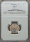 Shield Nickels: , 1866 5C Rays MS64 NGC. NGC Census: (540/195). PCGS Population(443/176). Mintage: 14,742,500. Numismedia Wsl. Price for pro...