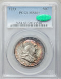 Franklin Half Dollars: , 1953 50C MS66+ PCGS. CAC. PCGS Population (69/0). NGC Census:(47/1). Mintage: 2,600,000. Numismedia Wsl. Price for problem...