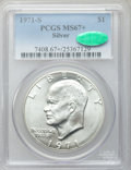Eisenhower Dollars: , 1971-S $1 Silver MS67+ PCGS. CAC. PCGS Population (392/2). NGC Census: (81/1). Mintage: 2,600,000. Numismedia Wsl. Price fo...