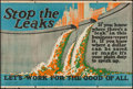 """Movie Posters:Miscellaneous, Stop the Leaks (Mather and Company, 1923). Motivational Poster (28"""" X 41.5""""). Miscellaneous.. ..."""