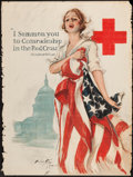 "Movie Posters:War, World War I Propaganda (Red Cross, 1918). Harrison Fisher Poster(30"" X 40"") ""I Summon You to Comradeship in the Red Cross.""..."