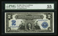 Large Size:Silver Certificates, Fr. 253 $2 1899 Silver Certificate PMG About Uncirculated 55.. ...