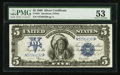 Large Size:Silver Certificates, Fr. 281 $5 1899 Silver Certificate PMG About Uncirculated 53.. ...