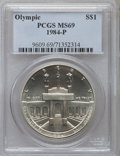 Modern Issues: , 1984-P $1 Olympic Silver Dollar MS69 PCGS. PCGS Population(1883/37). NGC Census: (1438/57). Mintage: 217,000. Numismedia W...