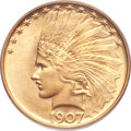 Indian Eagles, 1907 $10 No Periods MS65 PCGS. CAC....