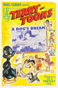 Memorabilia:Poster, A Dog's Dream Cartoon Theatrical Poster (Terrytoons,1941)....