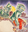 "Original Comic Art:Covers, Edmond Good Weird Tales (Canadian Version) May 1942 ""TheShadow Over Innsmouth"" H. P. Lovecraft Story Cover Origin...(Total: 2 Items)"