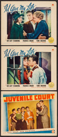 """Movie Posters:Crime, Juvenile Court & Other Lot (Columbia, 1938). Lobby Cards (3)(11"""" X 14""""). Crime.. ... (Total: 3 Items)"""