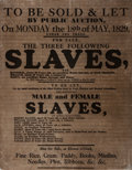 Miscellaneous:Broadside, [Slavery]. Decorative Facsimile Broadside for an 1829 SlaveAuction. Measures approximately 10.75 x 13.5 inches. A few minor...