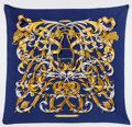 "Luxury Accessories:Accessories, Hermes Navy & Gold ""Le Mors a la Conectable,"" by Henri d'OrignyAccordion Silk Scarf . ..."