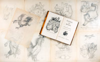 Garth Williams (1912-1996), illustrator. Large Lot of Nine Original Preliminary Pencil Sketches for Eva Le Gallienne's C...