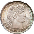 Barber Quarters, 1892 25C MS67 PCGS. CAC....