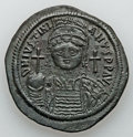 Ancients:Byzantine, Ancients: Justinian I the Great (AD 527-565). AE follis (22.20gm). ...