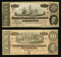 Confederate Notes:1864 Issues, T67 $20 1864 PF-11 Cr. 511;. T68 $10 1864 PF-44 Cr. 552.. ... (Total: 2 notes)